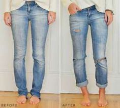 DIY boyfriend jeans, distressed denim #denim #diy #tutorial