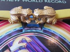 Mimi Di N Gold tone Kissing Frog Belt Buckle on by FunkyOldSoul