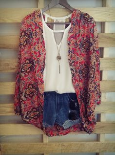 Kimono, white top, and denim shorts