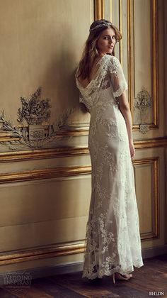 BHLDN #bridal spring 2016 flutter sleeves illusion jewel semi sweetheart neckline fully embellished sheath column lace #wedding dress cowl back marchesa (estella) mv