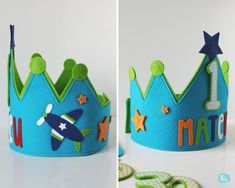 Custom felt birthday crowns // by Melimelum First Birthday Hats, Baby Birthday, First Birthdays, Birthday Crowns, Baby Crafts, Felt Crafts, Fabric Crafts, Crafts For Kids, Crown For Kids
