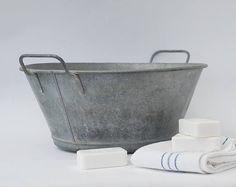 Galvanized wash basin Laundry room decor Outdoor planters