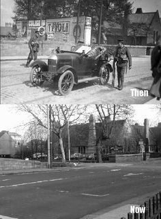Looking across Lr Mount St Bridge towards the Schoolhouse on Northumberland Rd. The hoarding in the older picture would have been riddled with bullet holes as it was used to cover the final British assault on Clanwilliam House. Then And Now Pictures, Old Pictures, Old Photos, Ireland Pictures, Ireland 1916, Dublin Ireland, Easter Rising, Irish Eyes Are Smiling, Ireland Homes