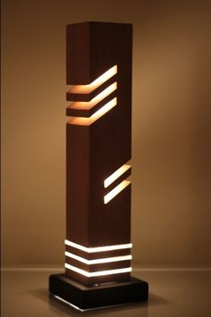 This is a modern looking decorative table light made from wood (cedar) diameter acrylic rod and a steel base. Modern Lighting, Lighting Design, Lighting Ideas, Table Lighting, Bedroom Lighting, Diy Luz, Light Decorations, Table Decorations, Acrylic Rod