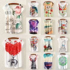 Women-Summer-Casual-Cotton-Top-Short-Sleeve-Print-Loose-Shirt-Blouse-Plus-size