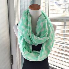 🆕 Chevron cotton infinity scarf Brand new, without tags!  Gorgeous lightweight semi-sheer chevron infinity scarf. Color is mint (light green). Accessories