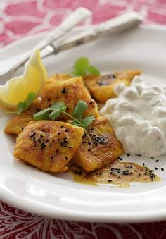 Spiced Indian fish with chickpea raita.