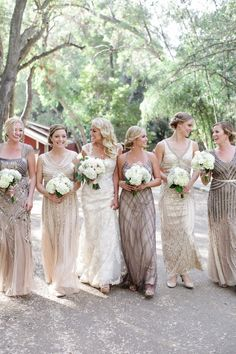 quinn & brent Photo By Jenny Smith & Co.  Great Gatsby bridal gown old hollywood wedding bridesmaids party beaded gowns dresses