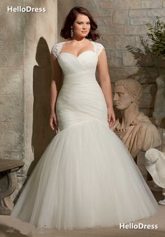 Mermaid/Trumpet Sweetheart Court Train Ruched Tulle Wedding Dress with Removable Lace Shawl on Storenvy