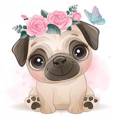 Cute little pug with floral Premium Vect. Cartoon Dog, Cute Cartoon, Cute Drawings, Animal Drawings, Baby Animals, Cute Animals, Watercolor Flower Background, Dog Icon, Carlin