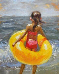 """Another Visit"" - Original Fine Art for Sale - © Diane Mannion Seaside Art, Beach Art, Painting People, Painting Art, Underwater Art, Lake Art, Ocean Art, Portraits, Fine Art Gallery"