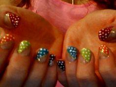 Rainbow, diagonal, polka-dot French nails. Art Club Nail Art Striper- Fine Gold