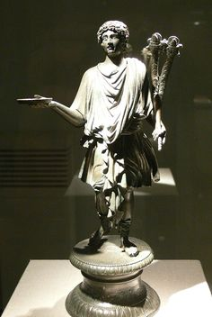 Bronze statue of a Lar, 2nd-3rd century AD. Nearly every Roman household possessed statuettes of the lares, usually in pairs that were placed in a lararium, or shrine, that was built in the central court (atrium) or in the kitchen. These shrines sometimes contained paintings rather than statuettes. Offerings, sacrifices, and prayers were made to the lares and to other household gods. The lares of the crossroads, associated with the emperor's household gods, were worshipped publicly.
