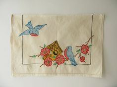 Vintage Embroidered Piece Art by PassedBy on Etsy, $24.00