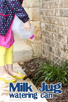Make a Watering Can from an old Milk Jug (…VIDEO included). Reduce garbage and make something useful for all the little hands that want to help water plants and flowers!