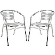 Modway Perch 29in.H Aluminum Outdoor Accent Dining Armchair, Silver, 2/Set