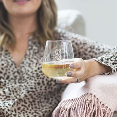 Personalised Initial Stemless Wine Glass by Becky Broome, the perfect gift for Explore more unique gifts in our curated marketplace. Christmas Gifts For Wine Lovers, Perfect Christmas Gifts, Stemless Wine Glasses, Secret Santa Gifts, Wine Gifts, Ceramic Mugs, Inspirational Gifts, White Wine, Initials
