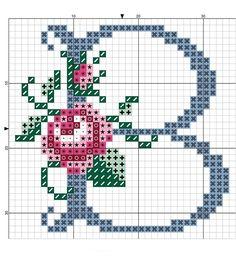 Kanaviçe Gül Desenli Alfabe Örnekleri 2 - Kanaviçe Gül Desenli Alfabe Örnekleri (2)
