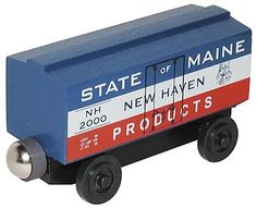 Wooden Toy Train- Box Car -- State Of Maine (wht100225) Whittle Wooden Train Cars