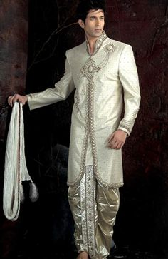 Off White Banarasi Silk Sherwani with Dhoti Online Shopping: MCD319