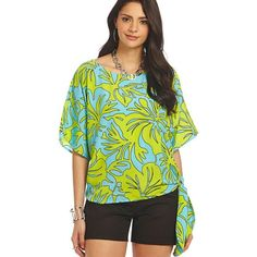 MICHAEL Michael Kors Island-Print Side-Tie Top Add a casual-cool vibe to any outfit with this breezy blouse from MICHAEL Michael Kors, featuring a cool island-style print and a self-tie side hem.  PolyesterMachine WashableImportedBoat necklinePullover styleShort sleevesAllover floral printRelaxed?FITSelf-tie detail at side hemHits at hip Michael Kors Tops