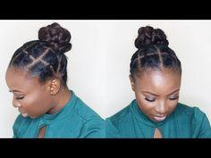 African Threading Updo On Short Natural Hair - Black Hair Information Natural Hair Bun Styles, Natural Hair Braids, Braids For Short Hair, Natural Hair Care, Curly Hair Styles, Hair Plaits, African Threading, Hair Threading, African Braids Hairstyles