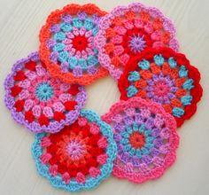 coaster set in pink/lila/orange/aqua/red