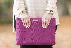 Style by Courtney: Gigi New York Uber Clutch in Magenta Embossed Python