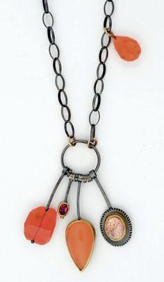 Orange, yes!  Carnelian, orange opal, African sunstone.  http://sydneylynch.com #necklaces #orange #craftcouncil.org