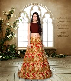 Short Top Designs For Long Skirt - Crop Design Burge Bjgmc Tb Green Lehenga, Lehenga Choli, Sarees, Crop Top Designs, Blouse Designs, Long Skirt Fashion, Indian Wedding Gowns, Crop Top Dress, Wedding Dress Gallery