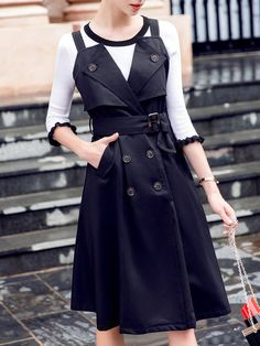 Black Casual Double Breasted Pockets Solid Midi Dress with Belt.  #clothings #clothes #fashion