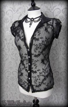 Elegant Goth Black Floral Delicate Lace Satin Collar Top 10 Vintage Victorian | THE WILTED ROSE GARDEN