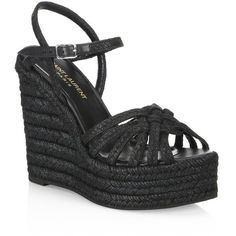 Saint Laurent Woven Espadrille Wedge Sandals (1.960 BRL) ? liked on  Polyvore featuring shoes