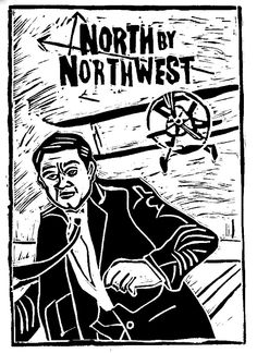 "Alfred Hitchcock's ""North By Northwest"" Film Classic Hollywood Movie Woodcut Art Work by Loren Kantor"
