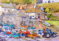 Roger Turner Art - Cadgwith Cove, Cornwall - Artists & Illustrators - Original art for sale direct from the artist Cadgwith Cove, Watercolor Paper, Watercolor Paintings, Small Fishing Boats, Best Jigsaw, Bristol Board, Original Art For Sale, Fishing Villages, Australian Artists