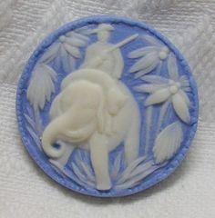 Wonderful Blue White Jasper Ware Studio Button w Big Game Hunter on Elephant   eBay