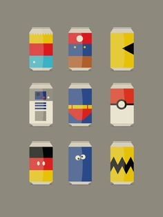 Pop Culture by David Schwen (Bart Simpson, Super Mario, Pacman, R2D2, Superman, Pokemon, Mickey Mouse, Cookie Monster, and Charlie Brown)