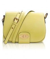 Yellow Cross Body Leather Vintage Style Tote Bag