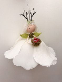Excited to share the latest addition to my shop: Mini Fairy Ornament, Reindeer Ornament, Flower Fairy Doll, Antler Woodland Christmas, Christmas Fairy, Christmas Angels, Woodland Fairy, Fairy Crafts, Doll Crafts, Reindeer Ornaments, Diy Christmas Ornaments, Clothespin Dolls