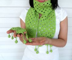 Crochet Scarf Pistachio Green Shawl Lime by SmilingKnitting, $32.00