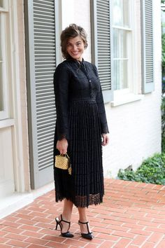 Modest Fashion Modest Bridesmaid Dresses Black Pleated Lace Southern Serendipity Dress by Dainty Jewell's Modest Apparel Modest Skirts, Modest Outfits, Modest Fashion, Fashion Dresses, Modest Clothing, Apostolic Clothing, Modest Apparel, Apostolic Style, Apostolic Fashion