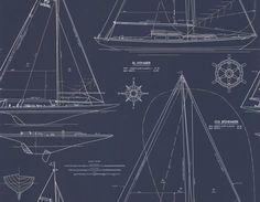 Ralph Lauren Collection Chesapeake White / Navy Wallpaper main image