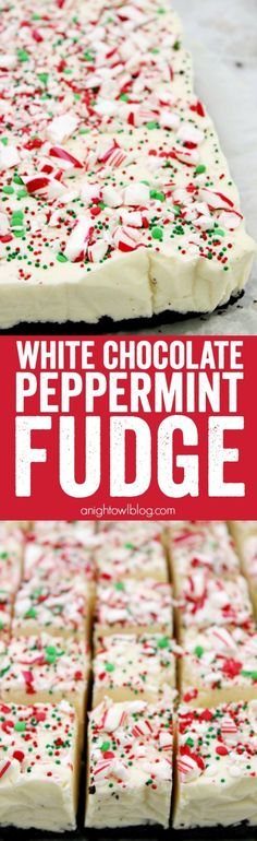 This White Chocolate Peppermint Fudge. Stovetop with marshmallow fluff and sweetened condensed milk. A decadent, but easy, fudge recipe perfect for the holiday season. It also makes a great gift idea! Mini Desserts, Holiday Baking, Christmas Desserts, Christmas Treats, Christmas Candy, Christmas Fudge, Xmas, Christmas Goodies, Christmas Chocolates
