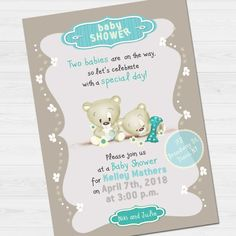 Twins Shower Party Invitation with name & thank by babyartshop Shower Party, Baby Shower, Second Baby, Lets Celebrate, Party Invitations, Twins, Names, Digital, Day