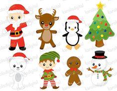 Navidad Santa y amigos clip arte conjunto por karolisdigital, $4.50