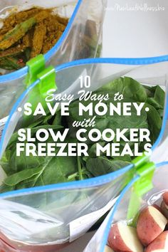 Here are 10 easy ways to save money with slow cooker freezer meals. You can check out the entire list of how to save money here.