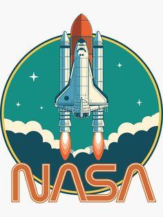 'NASA Vintage Space Shuttle Logo' Sticker by ericbracewell Vintage Space, Logo Vintage, Space Artwork, Space And Astronomy, Hubble Space, Space Shuttle, Space Telescope, Sgraffito, Logo Sticker