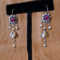 Mexican Silver Rose and drop  Pink stone  2 by LivingTextiles, $135.00