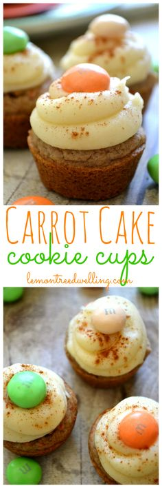 Carrot Cake Cookie Cups with the BEST homemade cream cheese frosting!