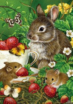 Strawberries and Friends Print   ~ Mary Wald's Place -  Jane Maday